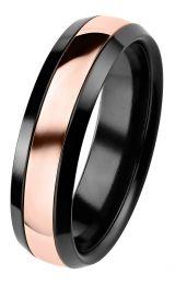 Kultakeskus, Duetto Black Edition -sormus punakultaraidalla, 006-092P