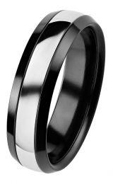 Kohinoor, Duetto Black Edition -sormus valkoakultaraidalla, 006-092V