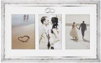 Valkoinen valokuvakehys Sormuspari, 3 kuvalle