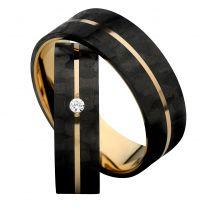 3D Carbon, Hiilikuitu-/kultasormus Swarovskin zirkonialla, 6mm
