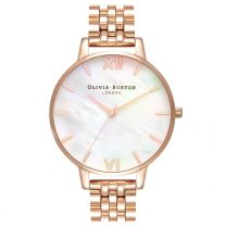 Olivia Burton, Mother of Pearl Bracelet Big White Mother of Pearl & Rose Gold Bracelet - rannekello