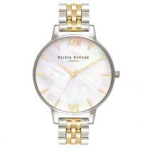Olivia Burton, Mother of Pearl Bracelet Big White Mother of Pearl, Gold & Silver Bracelet - rannekello