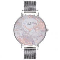 Olivia Burton, Abstract Florals Silver Mesh - rannekello