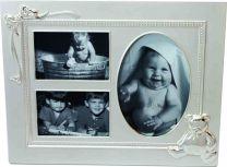 Rusetti ja nalle - Valokuvakehys kolmelle kuvalle, hopeoitu