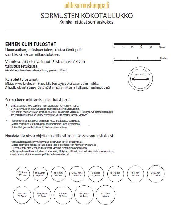 Vihkisormuskauppa.fi sormusmitta